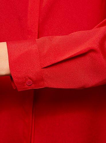 oodji Ultra Donna Camicetta Dritta con Decorazione su Colletto Rosso (4500N)
