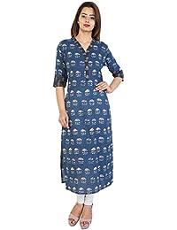 Bright Cotton Women's Cotton Straight Katha Long Kurti (Blue)