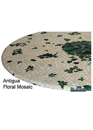 Fitted Round Elastic Edge Mosaic Vinyl Tablecloth Table Cover fits 36 to 48 Antigua Floral by EconoTex (Round Table Cover Elastisch)
