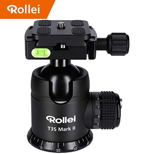 Rollei T3S Mark II - professioneller 360 Grad Kamera Stativ Kugelkopf mit Friktion, 20KG Tragkraft, Skalierung für Panorama Aufnahmen,2 Wasserwaagen, inkl Arca Swiss kompatibler Schnellwechselplatte