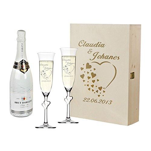 polar-effekt 2 Weisse Sektgläser mit Sekt-Flasche im Geschenkbox - Personalisiert mit Gravur - Hochzeit Geschenkidee Sektglas-Set - Motiv Herzen