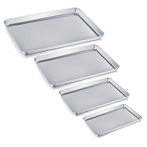 TeamFar Baking Tray Set of 4, Stainless Steel Baking Sheet Pan Professional, Non Toxic & Healthy, Mirror Finish & Rust Free, Easy Clean & Dishwasher Safe