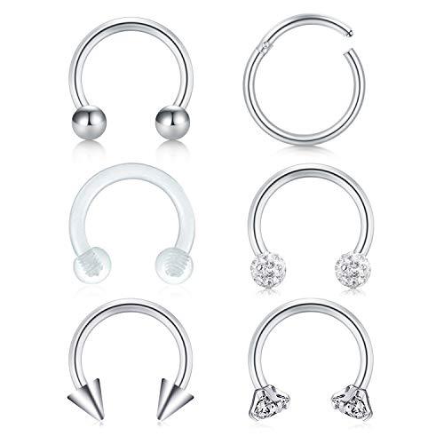Jforyou 6 pezzi cerchi anelli di naso in acciaio inossidabile a ferro di cavallo cerchi chirurgica corpo piercing per spirale trago cartilagine labbro sopracciglio, 16 gauge, 6 stili