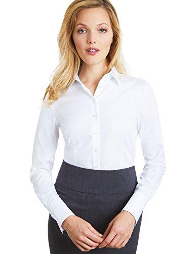 Hawes & Curtis Damen Ladies Twill Tailliert Executive Manschette Langarm Kragen Hemd Bluse 8 Weiss (Collar White Manschette-hemd)
