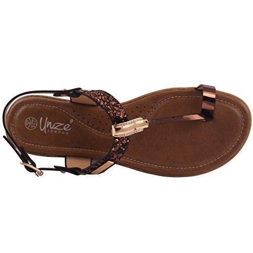 Mulheres Plana Dedo Sapatos Fotios Marrom cinta S127 Oz Verão Aberto Sandálias 8 Decorados T 3 27 Senhoras Novas Plana «coroadas Tamanho De 8qAOA