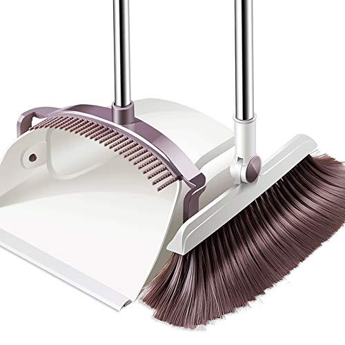 HUABEI Balai et Pelle à poussière Edelstahl Rod Kamm Form Antihaft-Haarbesen und Kehrschaufel weiche Bürste Hochwertige langstielige Kehrschaufel und Bürsten-Set for die Küche zu Hause WC verwendet -