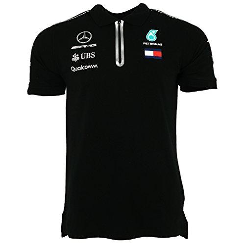 Official Formula One Merchandise   Männer   Offizielle Mercedes-AMG Petronas Motorsport 2019 F1TM   Team Poloshirt   Schwarz   Baumwolle und Elestan   Größe: M