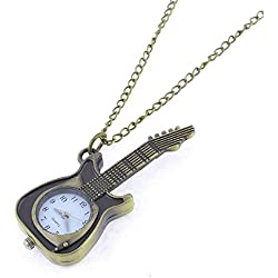 "Como 15.7 "" Length Bronze Tone Retro Style Guitar Shape Chest Pocket Watch for Women"