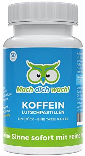 Koffein Lutschpastillen - Qualität aus Deutschland - 100mg Koffein mit Sofort-Wirkung und Minzgeschmack - wirkt schneller als Koffeinkapseln und Koffeintabletten - ohne künstliche Zusätze - vegan