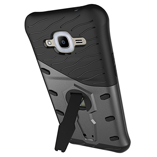 Für Samsung Galaxy J2 2016 / J2 Pro Case Tough Hybrid Heavy Duty Schock Proof Defender Cover Dual Layer Rüstung Combo Mit 360 ° Swivel Stand Schutzhülle Fall ( Color : Black ) Black
