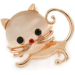 Cute Gato Broche en oro Metal tono – 35 mm