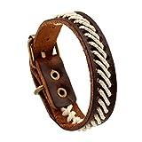 AZUO Männer Und Frauen Echte Leder-Armbänder, Männer Und Frauen General Urpose Manual Leather Adjustable Armband-Cuff Weave Wristband (5 Farben),Brown