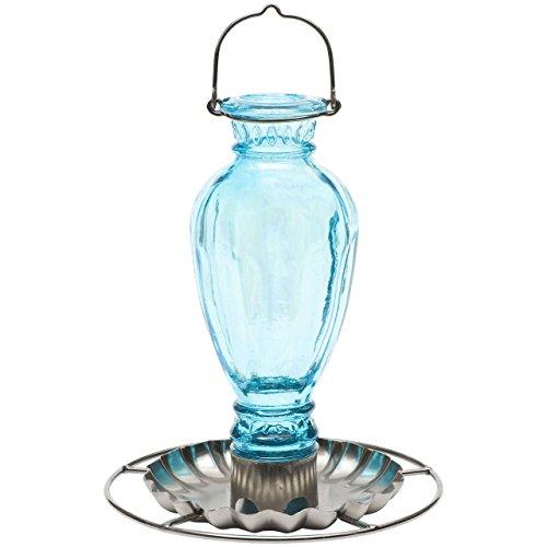 Perky-Pet Vintage Vogeltränke Daisy Vase aus Glas, Mod. 8136-2 / Hellblau -