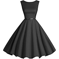 Bbonlinedress 50s Vestidos Vintage Retro Rockabilly Clásico Black 2XL