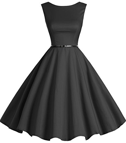 bbonlinedress 50s Retro Schwingen Vintage Rockabilly Kleid Faltenrock Black M