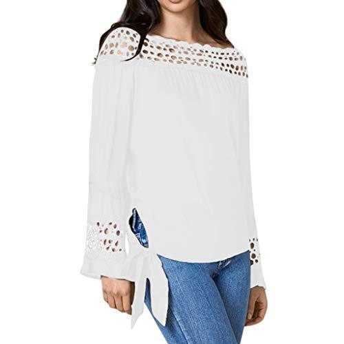 QingJiu Frauen T-Shirt Solide Schulterfrei RüSchen Spitze Patchwork Verband Tops Bluse (XXX-Large, ()