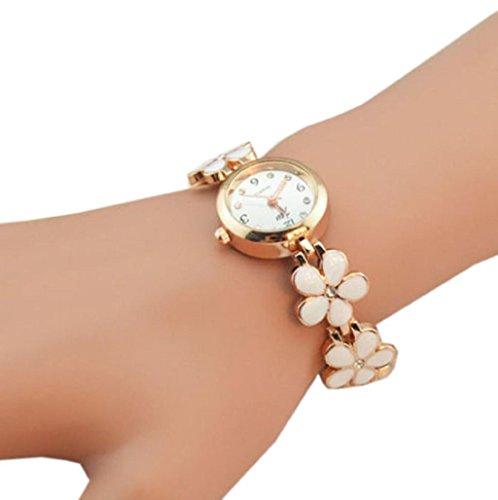 Sannysis® Flor Rosa Margaritas de oro pulsera reloj de pulsera