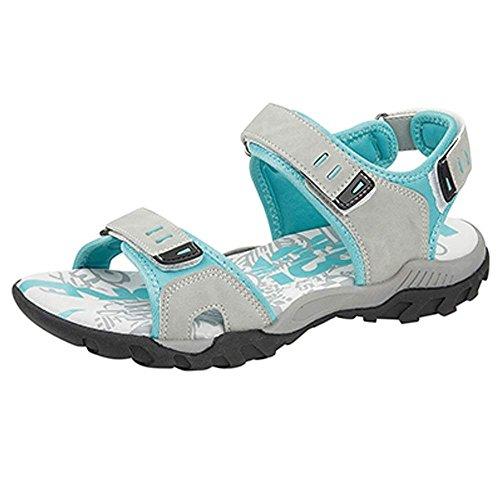 PDQ - Sandali rosa e grigi da donna, sandali da trekking con chiusura in velcro, sandali sportivi disponibili nei numeri dal 37 al 42, (Grey / Mint), Regolare