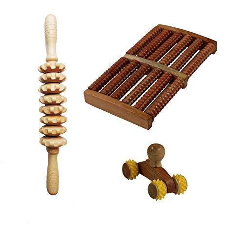 Wellness Massage-Set aus Holz: Fußmassageroller/Massagestab mit 8 Räder/Anti-Cellulite-Massage-Roller