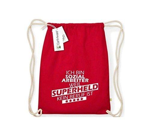 Shirtstown Organico Gymsac Sono Assistente sociale, perché Super eroe niente Occupazione è - rosso, One Size rosso