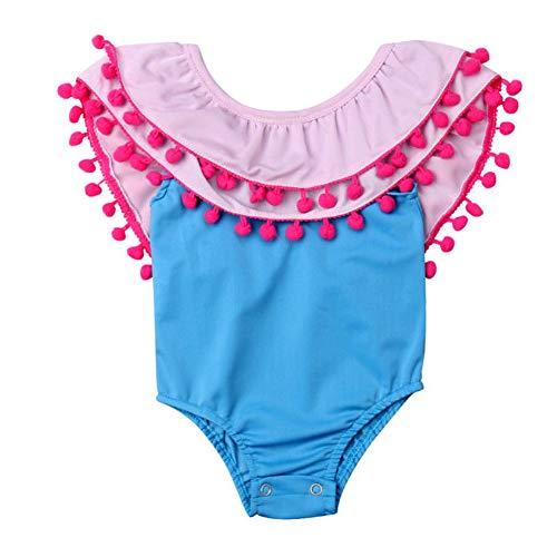 BriskyM Kleinkind Baby Mädchen Schulterfrei Quaste Ball Einteiliger Bikini Strand Badeanzug (Blau, 0-6 Months) (Badeanzug 3 Mo)