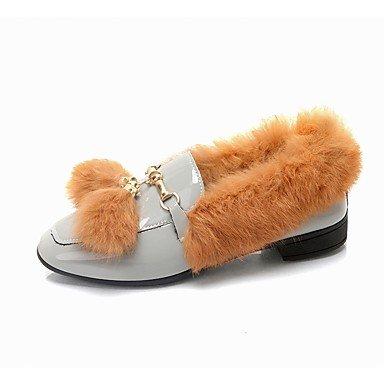 Amp; En Confort Pu Tenue Décontractée DHiver SHOESHAOGE Pour Ons Loafers Gray Noir De Rond Bout Une Femmes Slip Chaussures Gris wqfxqBX8