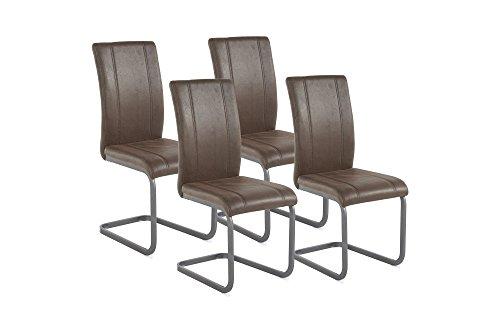Homexperts Schwingstuhl 4-er Set LILLY / 4x Esszimmerstühle in modernem Design / Bezug Kunstleder im Vintage Look in Dunkelbraun / Gestell...