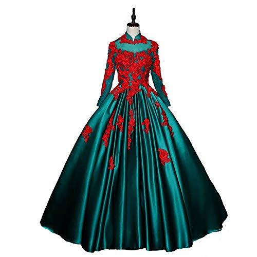 Königliches Ballkleid Kostüm - QAQBDBCKL grünes und rotes Cosplay Ballkleid der Stickereikarikatur Mittelalterliches Kleid Renaissancekleid königliches Kleid Victoria-Kleid/Prinzessin Cosplay