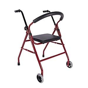WZHWALKER Gehhilfe Für Ältere Menschen, Gehrolle Aus Aluminiumlegierung Mit 2 Rollen, Gehhilfe Aus PU-Sitz, Rot