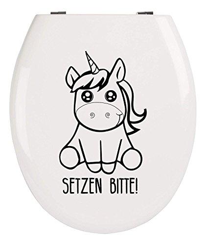 EinhornLiebe WC-Deckel Aufkleber lustiger Einhorn Sticker für Klo-Deckel Wandsticker 25cm x 8cm (SETZEN BITTE)