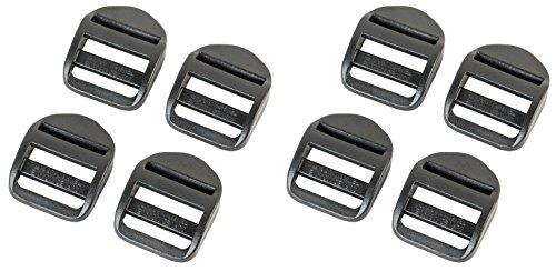 AceCamp DURAFLEX Clip Buckle with Ladderlock Handle Set 8 x 25 mm, Black, Buckle, Guide Belt, Buckle Backpack, Belt, Page Buckles, Double Pack, 7051