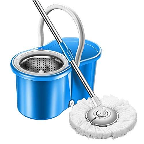 GailMontan Home Magic Floor Cleaning Wischmopp 360-Grad-Rolling Spin Self-Wring-Wischmop-Set - blau
