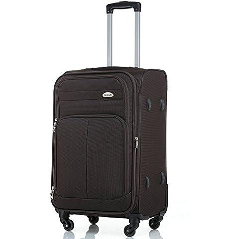 4ruedas maleta de viaje 8005plástico maletín equipaje Maleta L XL de m en 5colores, marrón,