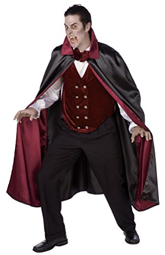 ampir-Kostüm Herren-Kostüm Dracula-Kostüm Herren Vampir-Umhang Vampir-Cape Dracula-Umhang Dracula-Cape bordeaux schwarz Halloween Einheitsgröße (Graf Dracula Kostüm Kinder)