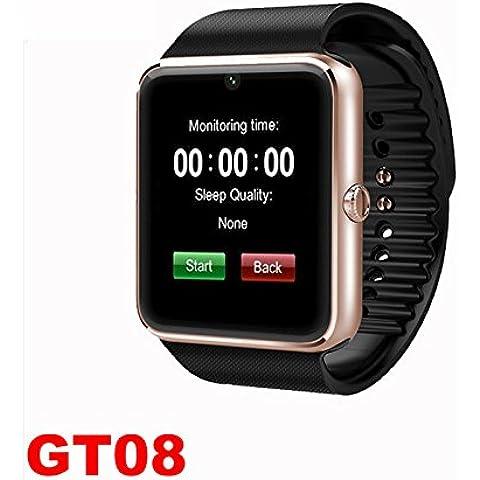 Smartwatch GT08 TFT pantalla tarjeta apoyo QQ micro SMS push campañas paso contador perdido recordado estar dormir reloj inteligente , black gold