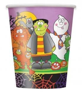 Little Monsters Paper Halloween Party Cups - 8 pack by Unique Party