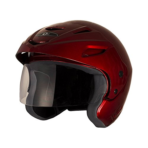 Autofy O2 Gem Open Face Helmet With Polycarbonate Visor and Extended Peak (Red- M)