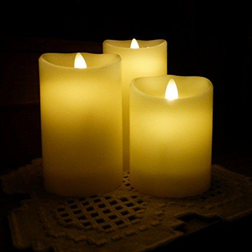 FloKa69® Flackernde LED Kerzen | Echtwachskerzen 3er Set, Elfenbein | Realistische, flammenlose und bewegliche Flamme | Fernbedienung mit Timer | verschiedene Größen: 15 cm, 12,5 cm, 10 cm und ø 7,5cm