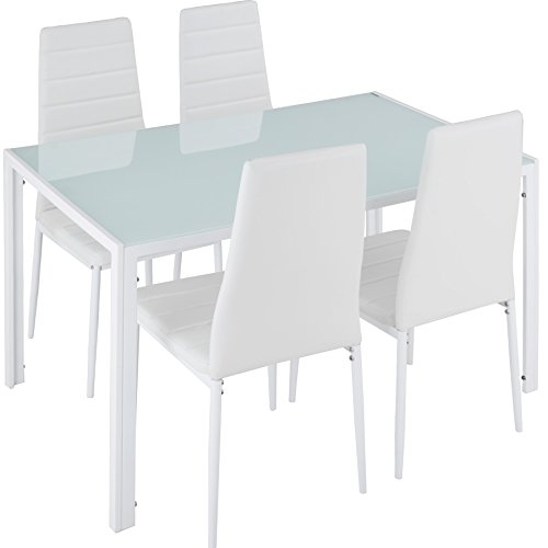 TecTake Conjunto de Mesa y 4 sillas de Comedor | Alto Grado...
