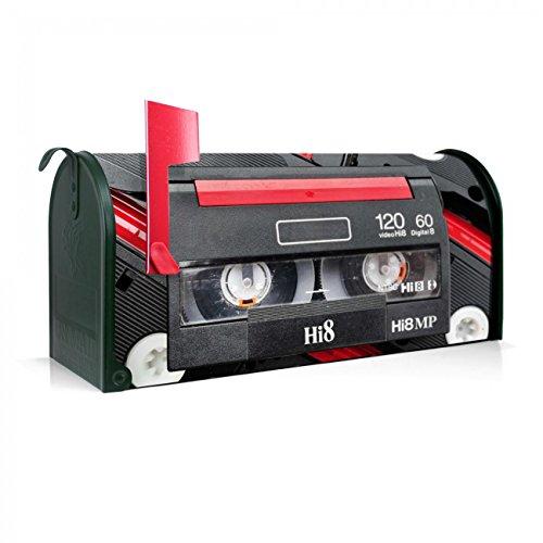 BANJADO US Mailbox | Amerikanischer Briefkasten 51x22x17cm | Stahl grün mit Motiv Video Kassette