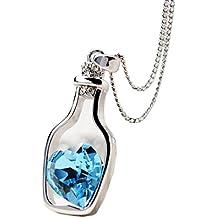 Collar para mujer, FEITONG Botellas collar de la mujer de las señoras de la manera populares en Crystal Amor
