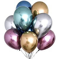 YZNlife Party Balloons Metallic Latex Balloons 60 Pcs Chrome Shiny Metallic Latex Balloons for Wedding Birthday Baby Shower Graduation Christmas Party l