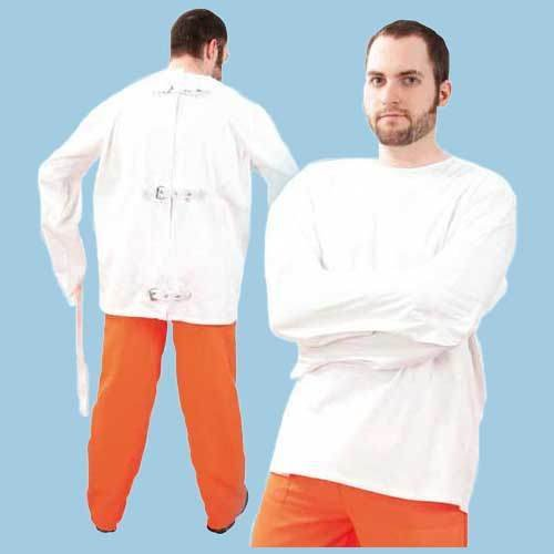 Herren-Kostüm Zwangsjacke, weiß, Gr. XXL