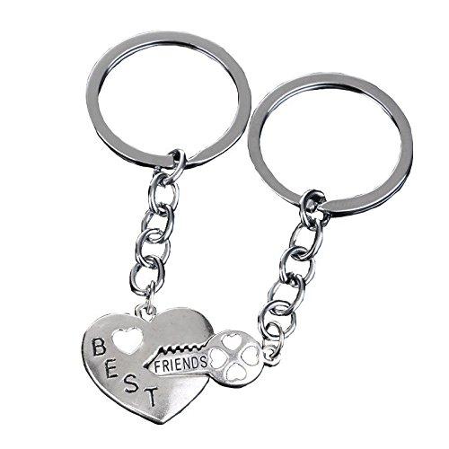 Bling Stars Schlüsselanhänger Key to my heart Kristall klar BFF Herz, Round (Batman Bff Schlüsselanhänger)