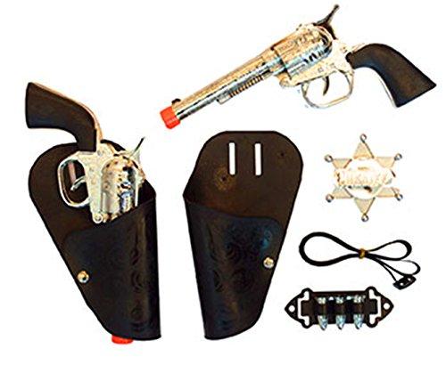 erdbeerclown - Cowboykostüm Set - 2 Holster Patronen 2 Revolver Pistole Sheriff Stern Kette, Mehrfarbig