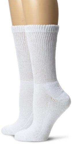 dr-scholls-womens-2-pair-pack-diabetes-circulatory-crew-socks-socks-size-9-11-shoe-size-4-10-white