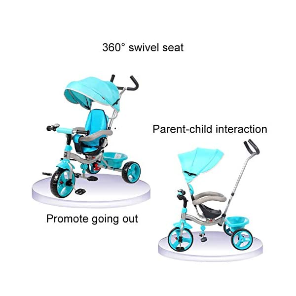 BGHKFF 4 In 1 Children's Hand Push Tricycle 10 Months To 6 Years 360° Swivelling Saddle Children's Pedal Tricycle Folding Sun Canopy Adjustable Handle Bar Child Trike Maximum Weight 25 Kg,Blue  ★Material: High carbon steel frame, suitable for children from 10 months to 6 years old, the maximum weight is 25 kg ★ 4 in 1 multi-function: can be converted into a stroller and a tricycle. Remove the hand putter and awning, and the guardrail as a tricycle. ★Safety design: golden triangle structure, safe and stable; front wheel clutch, will not hit the baby's foot; guardrail; rear wheel double brake 3