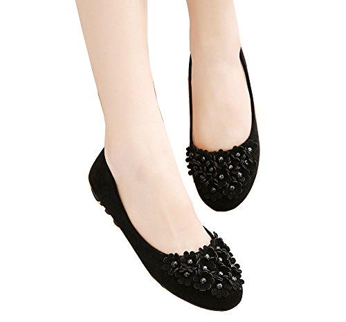 Mädchen Blumen Weiche Einzelschuhe Bequeme flache Schuhe Ballerinas Schwarz