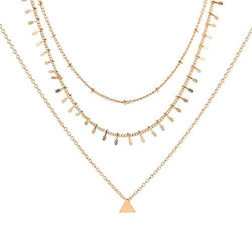 Anyeda Vergoldet Halskette Kette Mädchen mit Anhänger Dreieckiges Halsband mit Dreieck Gold 32Cm