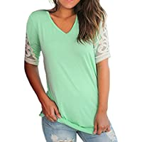 MOIKA Damen T-Shirt, 2018 New Mode Women Summer V-Neck Short Sleeve Ruched Blouse Top T Shirts